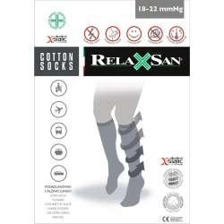RELAXSAN X-Static Podkolanówki męskie przeciwżylakowe z bawełną i srebrnym włóknem (ucisk 18-22 mmHg)