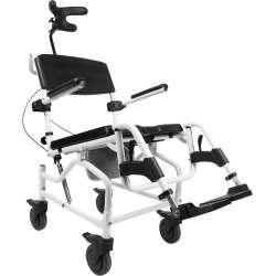 Kąpielowo-toaletowy wózek inwalidzki z odchylanym siedziskiem i zagłówkiem Mobilex