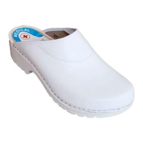 Sklep medyczny-Drewniaki medyczne PU (podeszwa powlekana gumą) Białe POFAM - JEDNOŚĆ- Obuwie dla personelu medycznego- Tanio