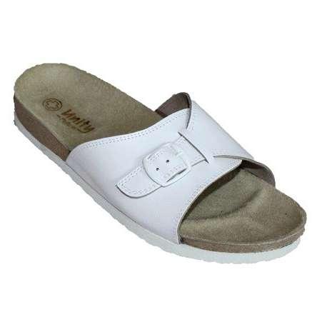 Sklep medyczny - Klapki damskie 660 białe POFAM - JEDNOŚĆ- obuwie dla personelu medycznego- Niska cena
