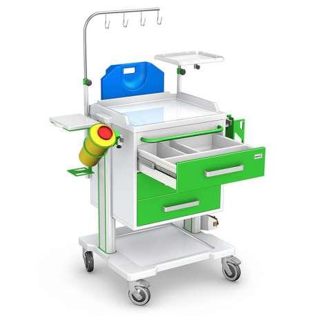 Wózek reanimacyjny serii OPTIMUM typ OR-3ABS z wyposażeniem TECH-MED
