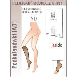 RELAXSAN Podkolanówki medyczne ze srebrnym włóknem II klasy ucisku 23-32 mmHg - Linia Medicale SILVER