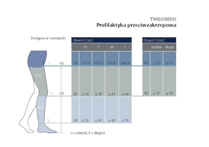 podkolanówki przeciwzakrzepowe THROMBO SIGVARIS tabela rozmiarów. Masz  problem z kupnem – zamów telefonicznie 735 575 252