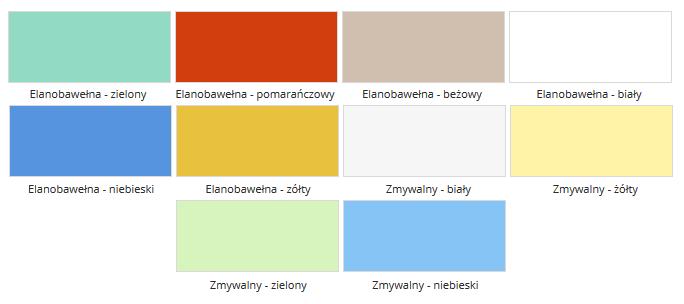 Parawan medyczny metalowy III Juventas. Paleta kolorów. Elanobawełna zielony, pomarańczowy, beżowy, biały, niebieski, żółty. Zmywalny biały, żółty, zielony, niebieski
