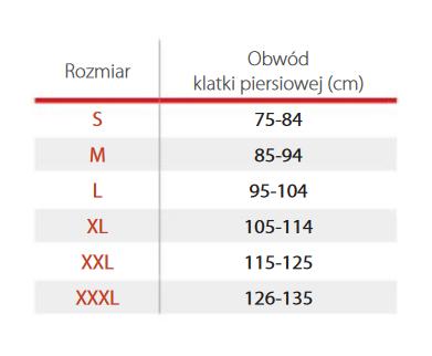Pas Torako dla mężczyzn na klatkę piersiową . Tablica  wymiarów: S - obwód klatki piersiowej  75-84 cm, M -85-94 cm, L 95-104 cm, XL- 105-114cm, XXL 115-125 cm, XXXL 126-135 cm.