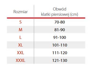 Pas Torako dla kobiet na klatkę piersiową PT 0114. Tablica wymiarów:  S- obwód klatki piersiowej 70-80 cm, M- 81,90 cm, L 91-100 cm, XL 101-110 cm, XXL 111-120 cm, XXXL 121-130 cm