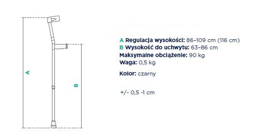Kula łokciowa z obejmą regulowaną dwustopniowo FS 923L TIMAGO. Regulacja wysokości 86-109 cm(116cm), wysokość uchwytu 63-86 cm, maksymalne obciążenie 90 kg, waga 0,5 kg, kolor czarny
