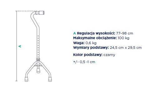 Trójnóg inwalidzki aluminiowy JMC-C 2680SL TIMAGO. Regulacja wysokości 77-98 cm, maksymalne obciążenie : 100 kg, waga 0,6 kg, wymiary podstawy 24,5 cm x 29,5 cm, kolor podstawy czarny.
