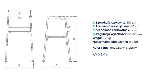 Balkonik statyczny składany JMC-C 3201 TIMAGO. szerokość całkowita 50 cm, szerokość wewn ętrzna 45 cm, głębokość całkowita 48 cm, regulacja wysokości 80-96 cm, waga 2,7 kg, maksymalne obciążenie 136 kg, kolor ramy miedziany, srebrny