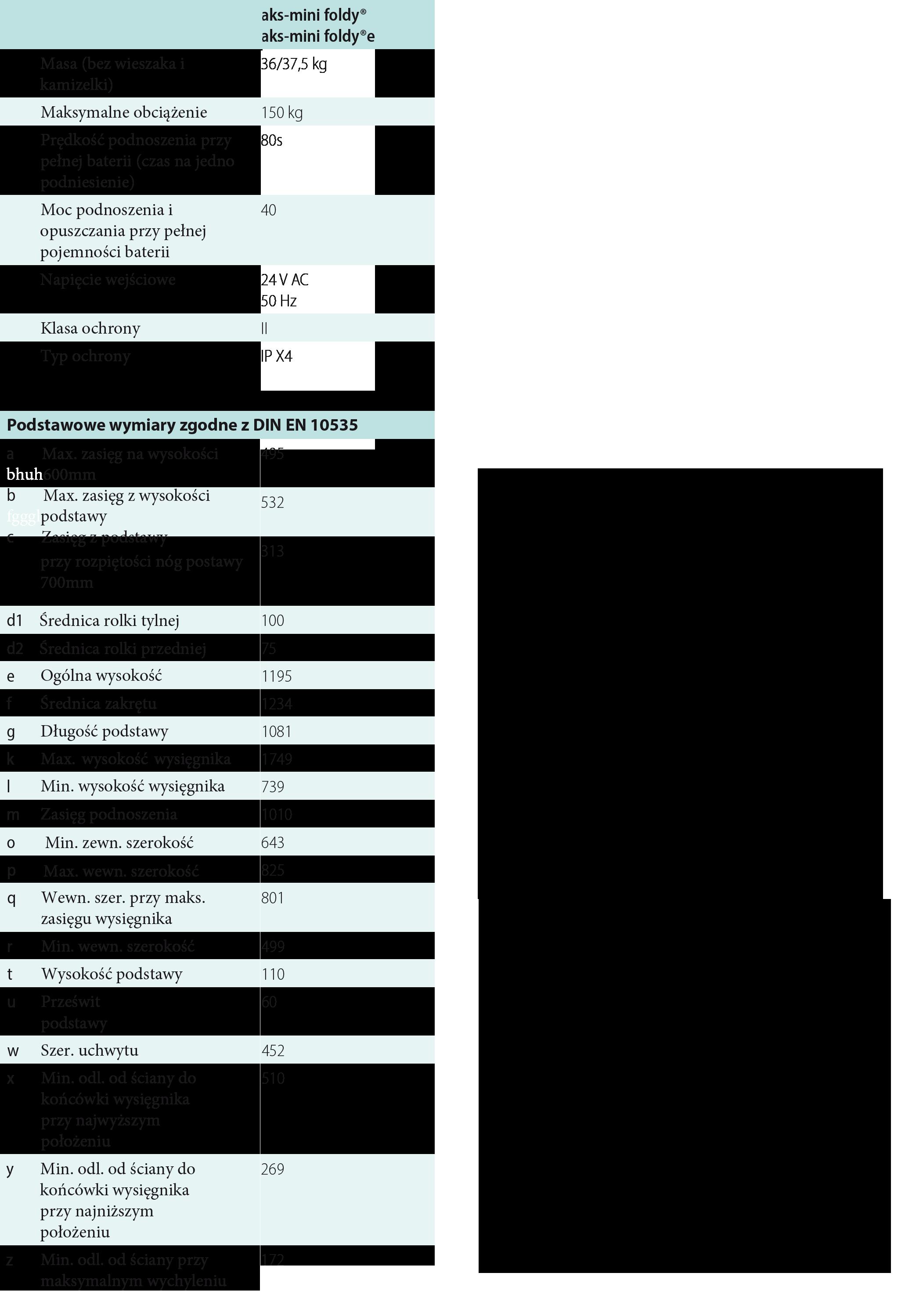 Podnośnik pacjenta AKS- mini Foldy LEVICARL. Parametry techniczne: Masz problem z kupnem – zamów telefonicznie 735 575 252