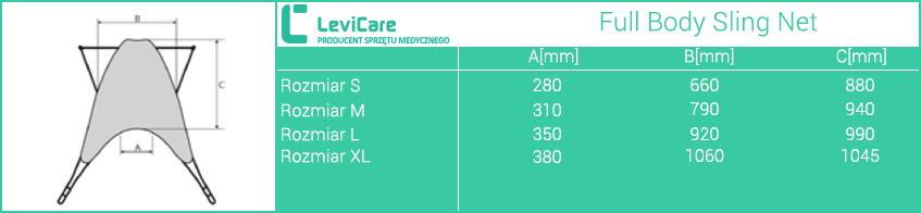 kamizelka Human Care Full Body Sling Net LEVICARE. Rozmiary.  Masz  problem z kupnem – zamów telefonicznie 735 575 252