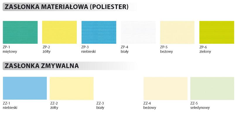 Zasłonka materiałowa (poliester) w kolorach: miętowy, żółty, niebieski, biały, beżowy, zielony. Zasłonki zmywalne w kolorach niebieski, żółty, biały, beżowy, seledynowy