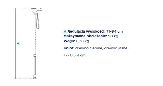 timago laska inwalidzka aluminowa regulowana jmc-c 2337. Regulacja wysokości 71-94 cm. Maksymalne obciążenie 90 kg, waga 0,38 kg. Kolor drewno ciemne, drewno jasne