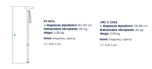 Timago laska inwalidzka aluminiowa, składana regulacja wysokości 78-88 cm, maksymalne obciążenie 90 kg, waga 0,38 kg. Kolor brązowy lub czarny