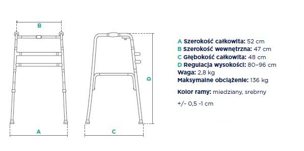 Balkonik kroczący składany JMC-C 3212. Parametry techniczne: szerokość całkowita 52 cm, szerokość wewnętrzna 47 cm, głebokość całkowita 48 cm, regulacja wysokości 80-96 cm, waga 2,8 kg, maksymalne obciążenie 136 kg, kolor ramy miedziany, srebrny.