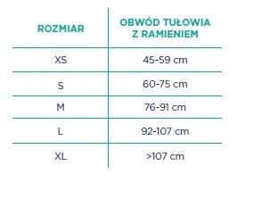 TEMBLAK KOŃCZYNY GÓRNEJ TGO-C OB 304 TIMAGO PARAMETRY TECHNICZE ROZMIAR XS 45-59 CM OBWÓD TUŁOWIA Z RAMIENIEM, S 60-75 cm, ROZMIAR M 76-91 cm, rozmiar L 92-107cm, rozmiar XL powyżej 107 cm
