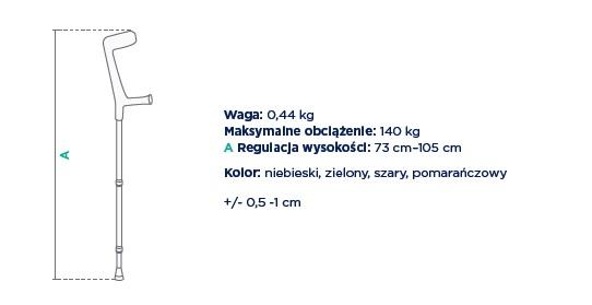 kula inwalidzka łokciowa SOFIA Timago. Waga 0,44 kg, Maksymalne obciążenie: 140 kg, regulacja wysokości całkowitej 73-105 cm