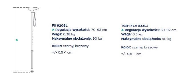 Timago laska inwalidzka aluminiowa regulowana FS 9206L DANE TECHNICZNE: Regulacja wysokości: 70-93 cm, waga 0,38 kg, maksymalne obciążenie: 90 kg, kolor: czarny, brązowy