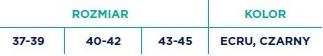 Rozgrzewające skarpetki z systemam antypoślizgowym. rozmiar 37-39, 40-42, 43-45. Kolory: ecru, czarny.