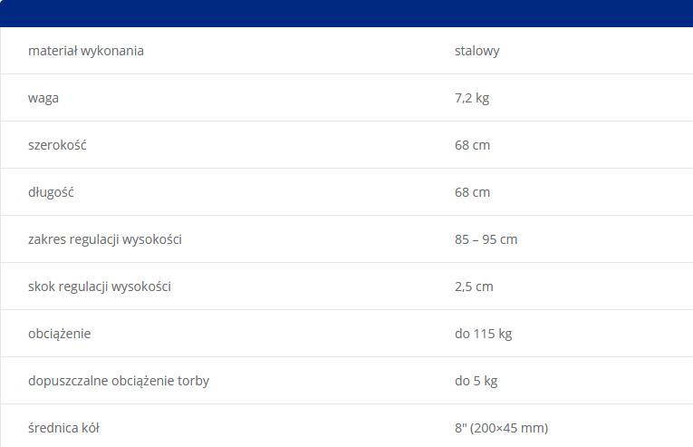"""Podpórka inwalidzka trójkołowa Mobilex. Materiał wykonania stalowy, Waga 7,2 kg, szerokość 68 cm, długość 68 cm, zakres regulacji wysokości 85-95 cm, skok regulacji wysokości 2,5 cm, obciążenie do 115 kg, dopuszczalne obciążenie torby do 5 kg, średnica kół 8""""(200x45)"""