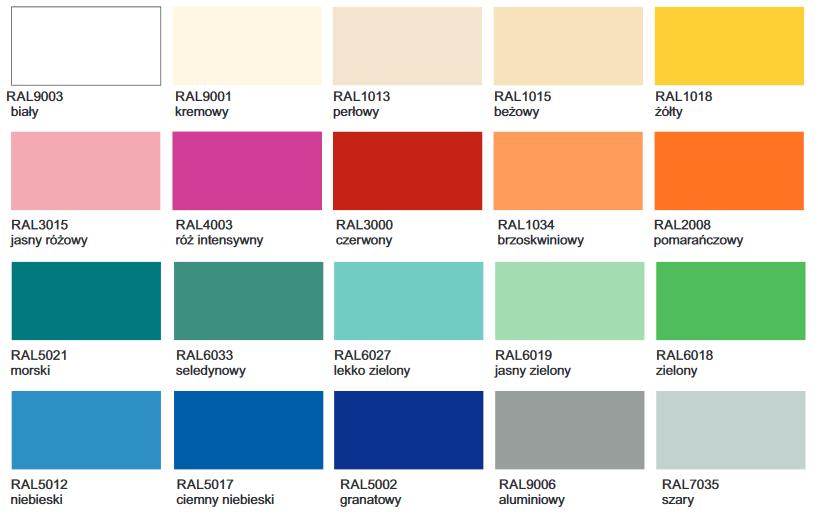 Stolik zabiegowy, dostępne kolory frontu szuflady. Biały, kremowy, perłowy, beżowy, żółty, jasny różny, róż intensywny, czerwony, brzoskwiniowy, pomarańczowy, morski, seledynowy, lekko zielony, jasny zielony, zielony, niebieski, ciemny niebieski, granatowy, aluminiowy, szary